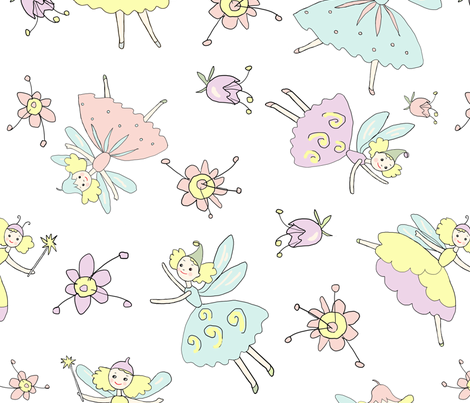 fairies white fabric by decembre on Spoonflower - custom fabric