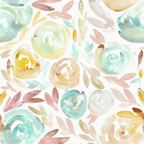Victorian Pastel Soft Floral Watercolor