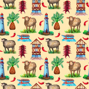 Countryside watercolor seamless pattern