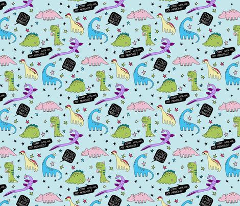 Dino is also princess  fabric by liliya_sudakova on Spoonflower - custom fabric