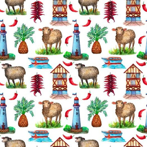 Rustic landscape with sheeps_ lighthouse and boat seamless pattern