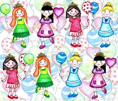 colorful princess girls baloons