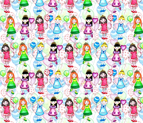 colorful princess girls baloons fabric by lucas_carneiro on Spoonflower - custom fabric