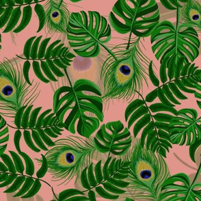 Leaves and Peacock Feathers (Pink)