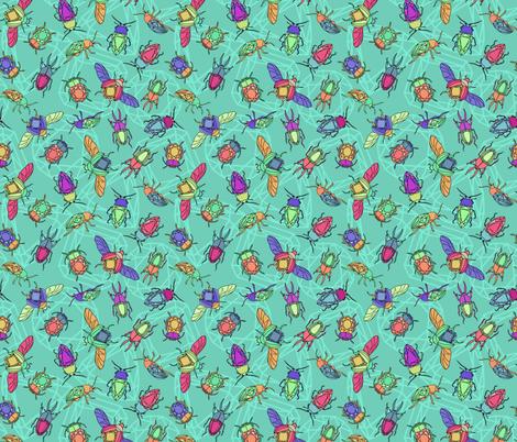 Turquiose Gemstone Beetles fabric by new_branch_studio on Spoonflower - custom fabric
