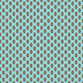 Coffee Beans Pattern in Aqua & Brown