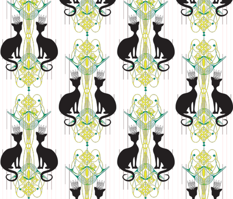 Nouveau Crowned Cats  fabric by smart_cats on Spoonflower - custom fabric