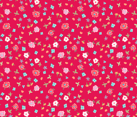 fresh picked flowers - red fabric by designed_by_debby on Spoonflower - custom fabric