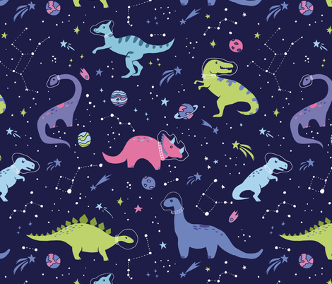 Space Dinosaurs fabric by latheandquill on Spoonflower - custom fabric