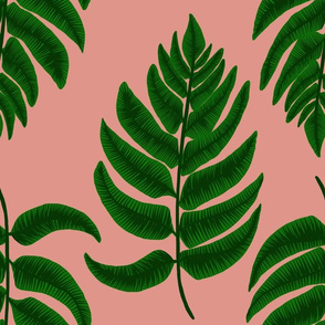 Fern leaf on pink (large)