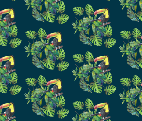 Toucans & chameleons fabric by kat_hill on Spoonflower - custom fabric