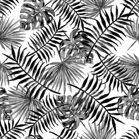 monstera and palm leaves - b/w fabric by stofftoy on Spoonflower - custom fabric