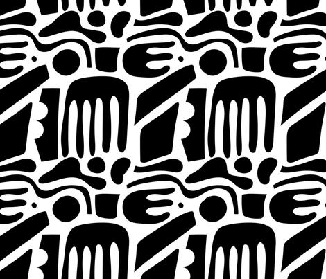 Aztec Shapes Black fabric by karen_illustrates on Spoonflower - custom fabric