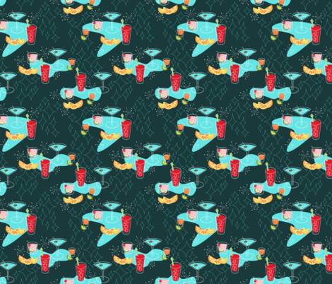 Cabo Cocktails Dark fabric by ameemax on Spoonflower - custom fabric