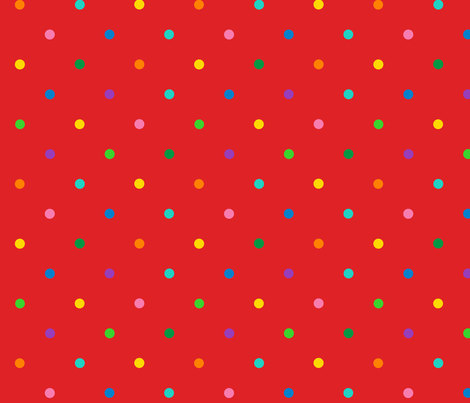 multicolor polkadots on red fabric by lorose on Spoonflower - custom fabric