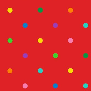 multicolor polkadots on red