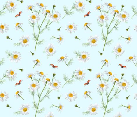 Chamomile & ladybug fabric by purple-bird on Spoonflower - custom fabric