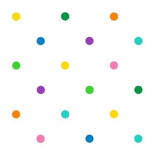 mulit color polkadots on white