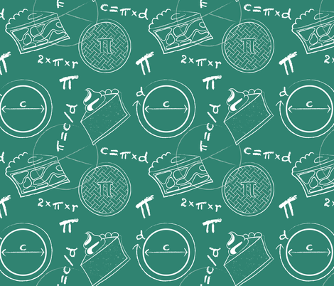 Math of Pi(e) on green fabric by denisecolgan on Spoonflower - custom fabric