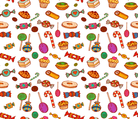 Sweet Princess (white)   fabric by chicca_besso on Spoonflower - custom fabric