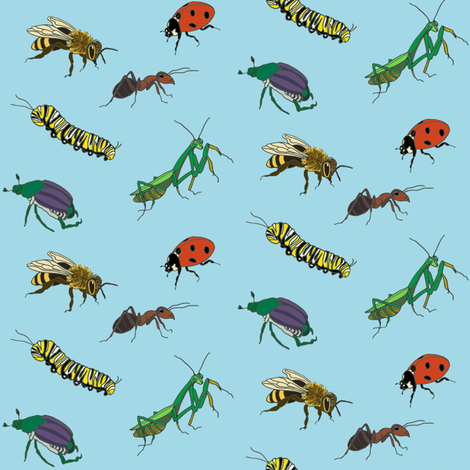 Bug Love in Baby Blue fabric by barbaramarrs on Spoonflower - custom fabric