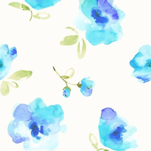 abstract flowers-aqua