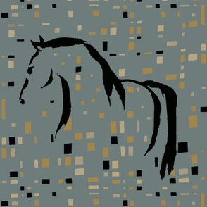wild horse, green yellow black