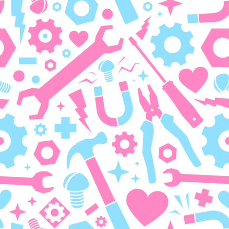 Workshop tools for girls fabric by dmitriylo on Spoonflower - custom fabric