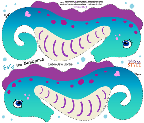 Sally the Seahorse Cut and Sew Softie fabric by vintage_style on Spoonflower - custom fabric