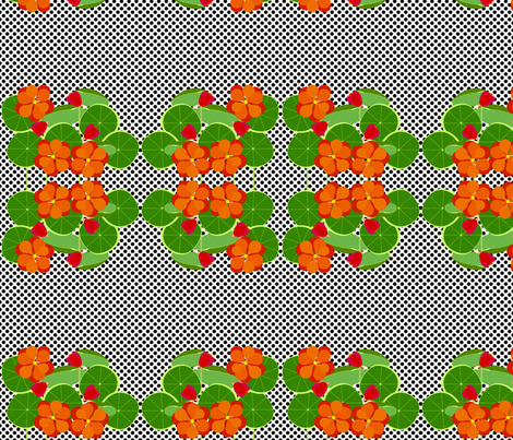 Nasturtiums and Dots fabric by kae50 on Spoonflower - custom fabric