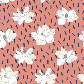 Magnolia Flowers on Pink