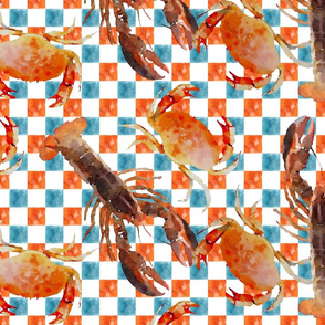 Lobsters & Crabs on Orange & Blue checked background
