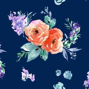 rose with lavender on navy