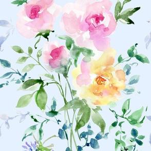 floral on soft blue