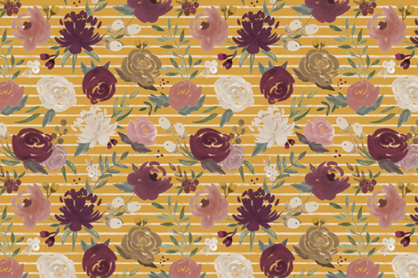 """Autumn Blooms"" on Striped Mustard fabric by sweeterthanhoney on Spoonflower - custom fabric"