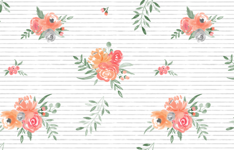 """Sunset Bouquets"" on Gray Stripes - Watercolor Floral fabric by sweeterthanhoney on Spoonflower - custom fabric"