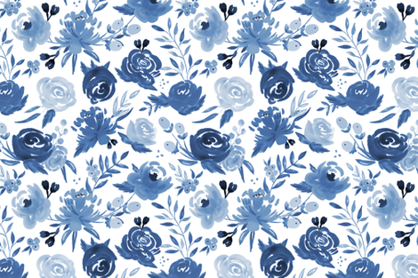 Monochrome Blue Watercolor Floral fabric by sweeterthanhoney on Spoonflower - custom fabric