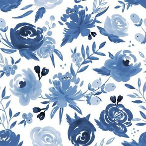 Monochrome Blue Watercolor Floral