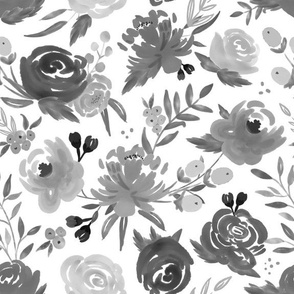 Black and White Monochrome Watercolor Floral