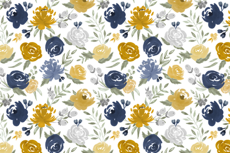 Navy & Mustard Watercolor Floral fabric by sweeterthanhoney on Spoonflower - custom fabric
