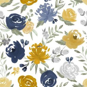Navy & Mustard Watercolor Floral