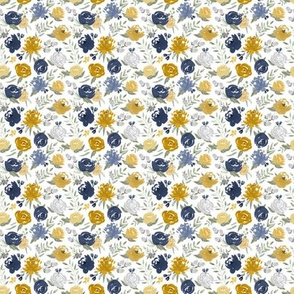 Small Scale - Navy & Mustard Watercolor Floral