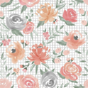 Soft Watercolor Floral on Small Gray Grid