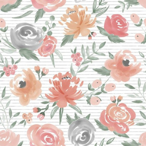 Soft Watercolor Floral on Gray Stripes