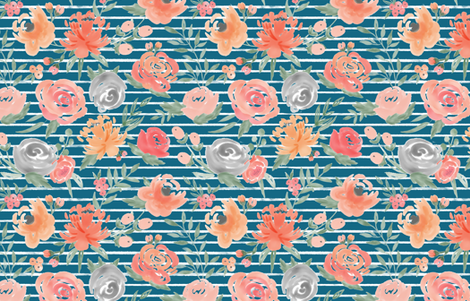 """""""Sunset"""" Watercolor Floral on Azure Blue w/ White Stripes fabric by sweeterthanhoney on Spoonflower - custom fabric"""