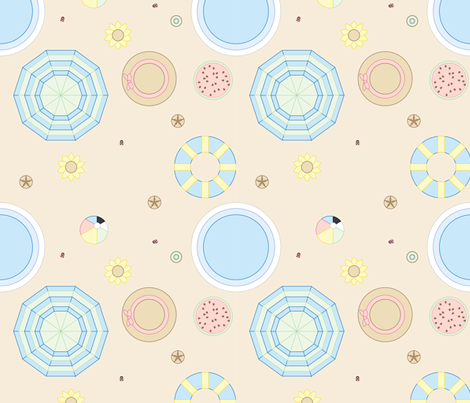Summer Dotted Beach fabric by rachel_chaya on Spoonflower - custom fabric