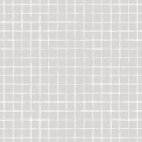 Small Scale White Watercolor Grid on Gray
