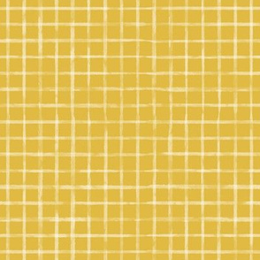 Small Scale White Watercolor Grid on Mustard / Gold