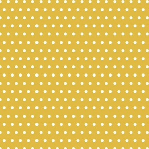 White Polka Dots On Mustard