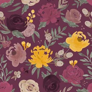 Fall Combo Watercolor Floral on Plum